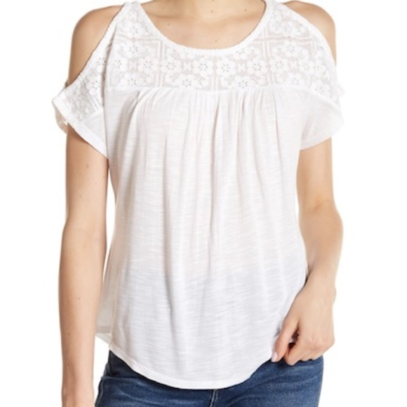 9f4452857ac33e Lucky Brand Tops | Cold Shoulder Lace Yoke White Top Sz M | Poshmark